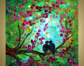 Original Oil Painting Spring Pink Cherry Tree and LOVEBIRDS by Luiza Vizoli Custom Painting