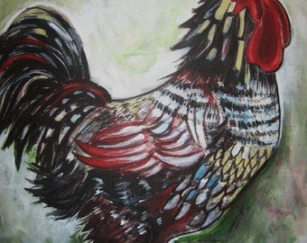 Rooster Painting Animal Art Original colorful bird painting acrylic on canvas board 16x20 sjkim