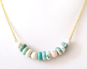 Gold Chain Gemstone Necklace - Magnesite - Turquoise, White, Gold - The Bohemian: Heishi Round
