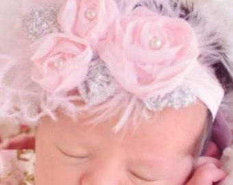Light Pink and Metallic Silver Chiffon Flower With Pearl Center and Beautiful Curly Ostrich Feathers on 5/8 inch Fold Over Elastic Headband