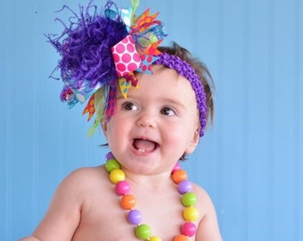 Turquoise, Purple, Pink, Lime, Orange, Yellow Summer Bright Over The Top Funky Boutique Hair Bow on matching Headband