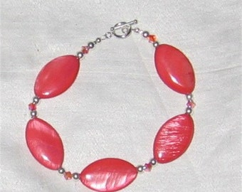 Lovely Coral Colored Mother Of Pearl  Swarovski, SS Bracelet - 267