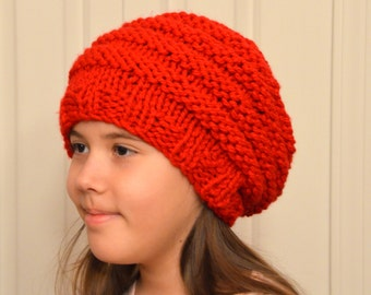 Slouchy Hat Hand Knitted Mens Womens Slouchy Beanie Hat Red