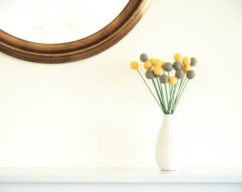Yellow and Grey Felt Flowers, Craspedia felted blooms, billy button balls, everlasting home decor modern mod Geometric