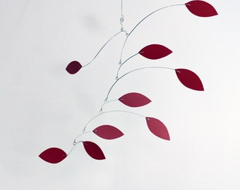 Red Mobile for Low Ceilings - Kinetic Mobile Sculpture Vine Series - Calder Inspried 18w x 16t - P165