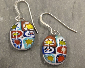All Stars Millefiori Fused Glass Earrings, 1453