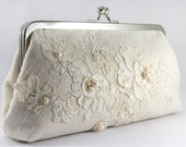 Gift for the bride, Bridal Clutch with Alencon French Lace in Ivory 8-inches