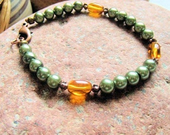 Pearl Bracelet, Sage and Amber, Green and Amber, Copper Jewelry, Handcrafted Jewelry, Rustic Jewelry, Gift for Her, Gift under 20