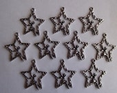 Star Fairy Charms- ten silver charms- antique silver charms