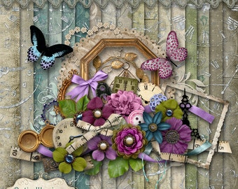 The Measure of Time - Digital Scrapbooking Kit - 17 Papers Over 50 Elements - 4.75