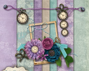 The Measure of Time - Add-On Mini -  Digital Scrapbooking Kit - 7 Papers - 23 Elements -2.50