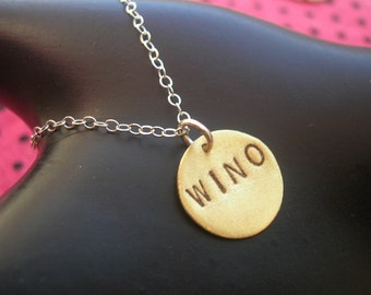 WINO, Drunk in Love, Wine Lover Gift, Alcoholic, Addiction, Wine Charms, Modern, Brass Disc Necklace, Mixed Metal Necklace, Metal Taboo