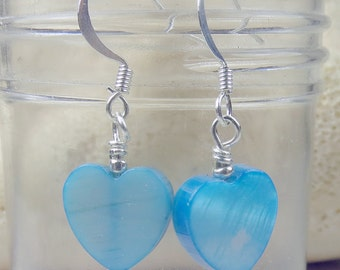 Aqua Blue Shell Heart earrings, holidays, birthdays, blue skies and more