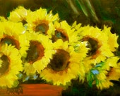 Bucket of Sunflowers, 5x7 Original Oil Daily Painting, Floral Art, Yellow and Brown and Green