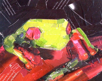 Tree Frog Collage, Original, 10x10 on Gallery Wrap Canvas, Torn Paper, Green and Red