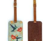 Leather Luggage Tag, Luxury Leather Luggage Tag - Hummingbirds