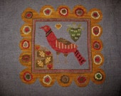 Finished Primitive Cross Stitch - Goode Huswife - Annas Bird