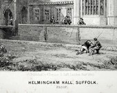 1844 Your Personal Downton Abbey Series. English Antique Wood Engraving of Helmington Hall, Suffolk