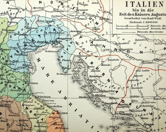 1895 German Antique Map of Italy up to the Time of Caesar Augustus