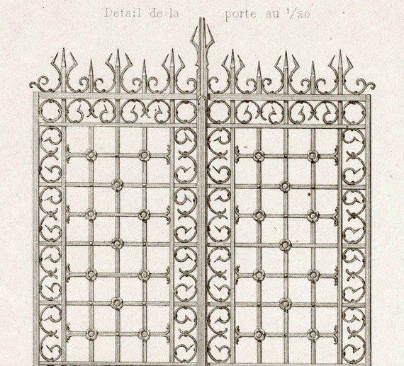 1880 French Antique Engraving of Decorative and Architectural Metalwork. Gate and Grille in Rouen. Plate 24 - Architectural Print