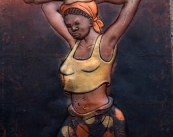 "African Copper Art 3 Dimensional - Congo DRC - 8"" X 11.5"""
