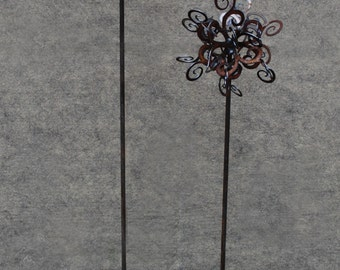 SET of 3 - NEW Garden stake - Swirl Puff - Rusted Garden Stake comes in 26, 30, 34 inch sizes
