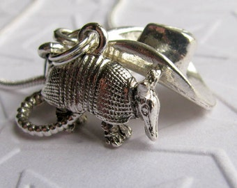 Armadillo and Cowboy Hat charm necklace, antiqued silver pewter, Texas, rodeo jewelry, Wild West, Western wear, miniature desert animal