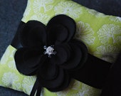 Ring Bearer Pillow - Green Textured Ring Pillow With Handmade Black Flower - Lena