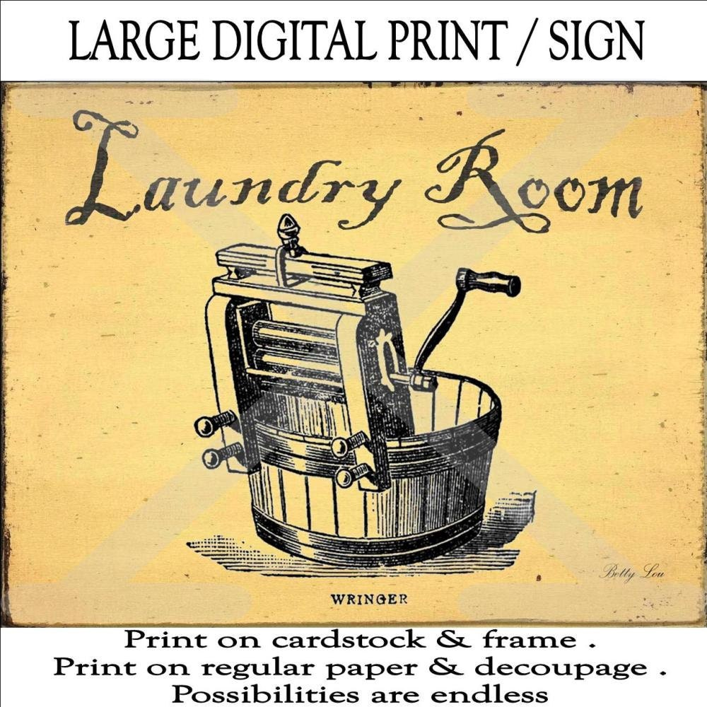 Laundry Room Download Wash Tub Vintage Labels Tags