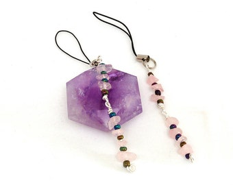 Two (2) Rose Quartz Flash Drive Lariat Charms made with Semi Precious Stone Chips