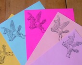 pegasus butt stationery letter set gray, hot pink, aqua with white envelope