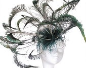 Stunning Peacock Blue and Green Fascinator Kentucky Derby or Wedding Hat on a Headband