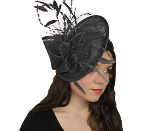 Black Galina Fascinator Hat for Weddings, Races, and Special Events With Headband
