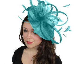 Milion Dollar Turquoise Fascinator  Hat for Weddings, Occasions and Parties