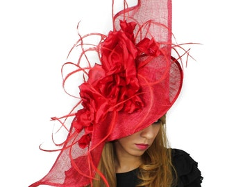 Elisaveta Red  Fascinator Hat for Weddings, Races, and Kentucky Derby With Headband (in 20 colours)
