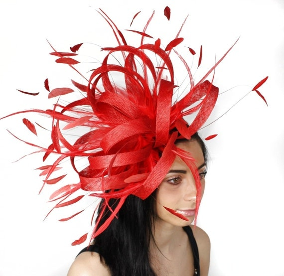 Ostrich Red Fascinator Cocktail Hat For Weddings, Races and Proms With Headband(40 colours avail)