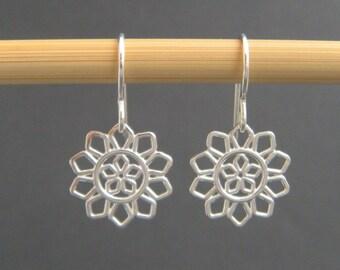 "small silver earrings. filigree flower earrings. sterling dangle. petals. floral. botanical. nature. drop earrings. simple jewelry. 1/2"""
