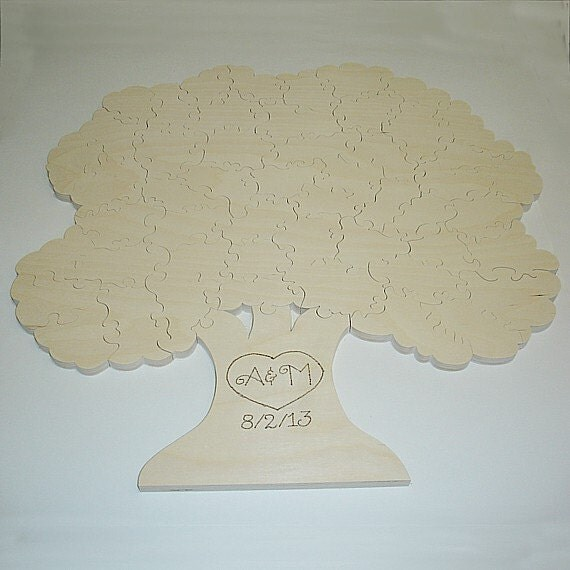 Wedding Guest Book Tree Puzzle - Unfinished - 50 Piece - Alternative Guest Book