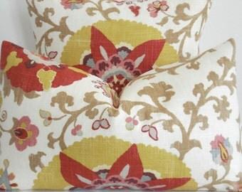 BOTH SIDES Linen--P Kaufmann - Decorative Pillow Cover-SILSILA -Curry--Red-Yellow-Teal-Grey-Tan and Cream Throw/Lumbar Pillow