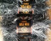 3 Skeins of Black and White Mixture Blend Fun Fur Yarn