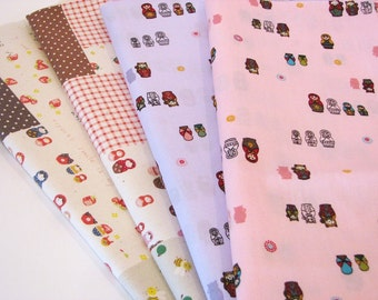 Kawaii Japanese Fabric Matryoshkas Russian Doll Fat Quarter Set of 4