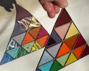 Stained Glass Rainbow triangle  Suncathcer