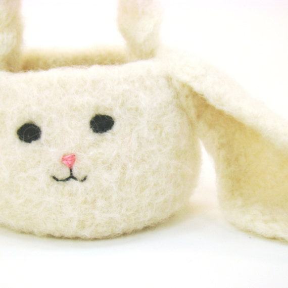 Rabbit Bunny Mini Easter Basket Felted Crochet Pattern PDF INSTANT DOWNLOAD