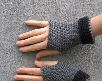 men's fingerless gloves/ winter gray wool crochet