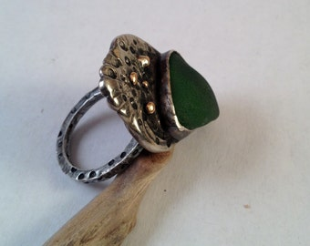 Recycled Found Object Sea Glass Ring