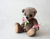 """Artist Teddy Bear April  8"""", OOAK, beige, pink"""