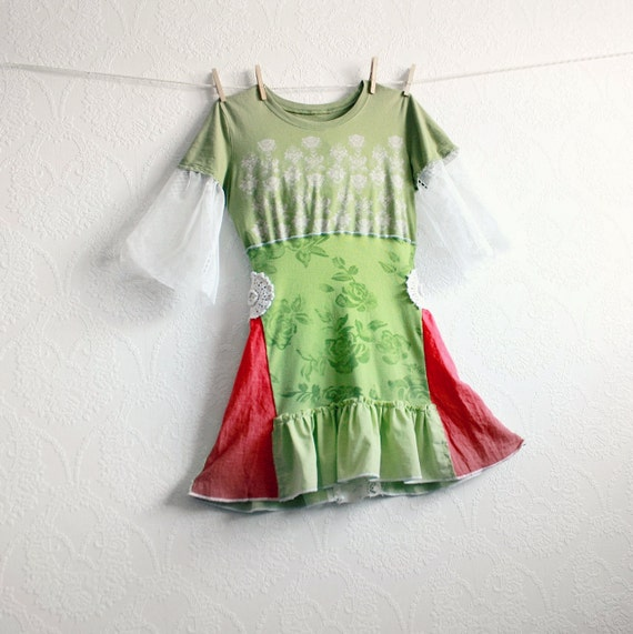 Lime Green Women's Top Bohemian Clothing Upcycled Clothes Coral Lace Bell Sleeves Retro Shirt Recycled Tunic Small 'LORA'