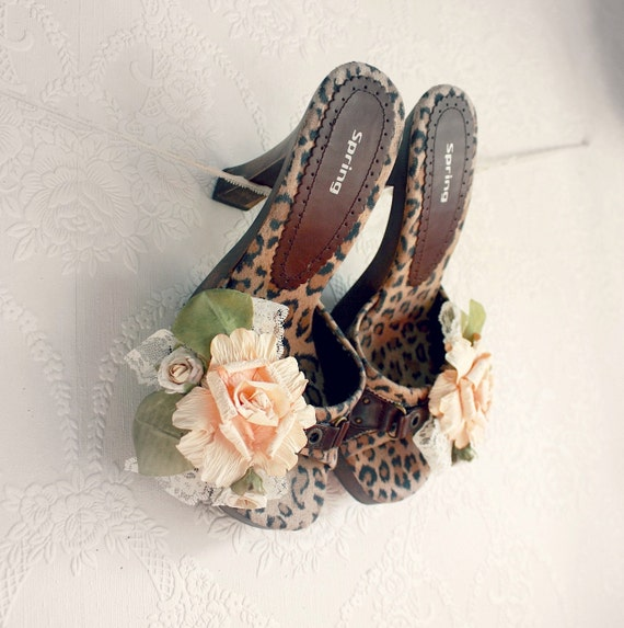 Animal Print Women's Shoes Upcycled High Heels Peach Roses Floral Embellished Brown Slip Ons Shabby Chic 7.5 'REAGAN'