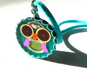 Bottle cap owl necklace, resin inlay, soda can tab