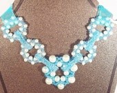 Bib Necklace Blue on Blue Rings, Linked Rings Necklace